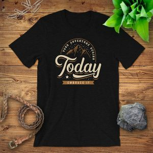 Adventure Begins Today Flat Lay Mockup Tshirt