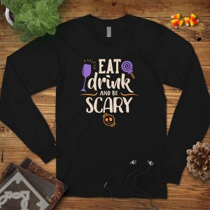 Eat Drink Be Scary Flat Lay Mockup Long Sleeve