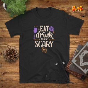 Eat Drink Be Scary Flat Lay Mockup Tshirt