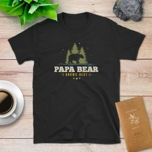 Papa Bear Knows Best Flat Lay Mockup Tshirt