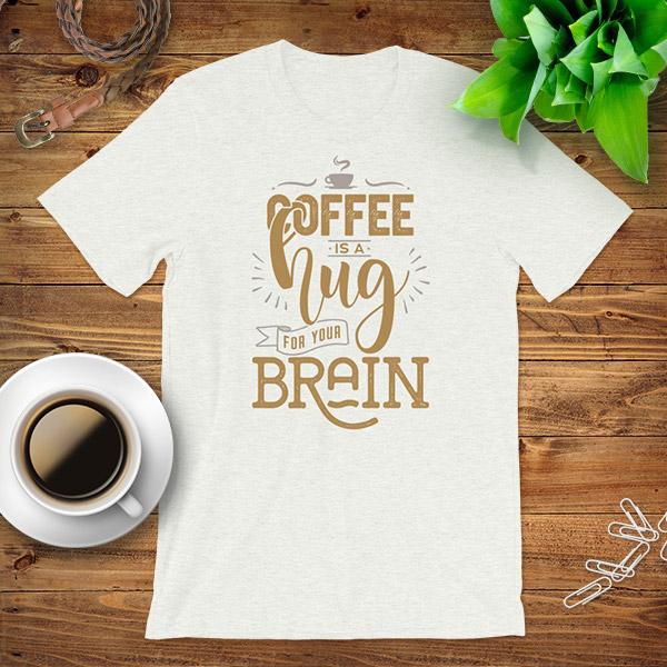 Coffee Brain Hug Flat Lay Mockup Tshirt