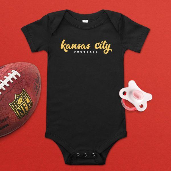 Kansas City Football Flat Lay Baby Onesie