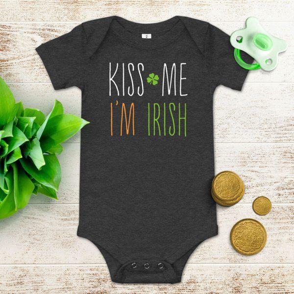 Kiss Me Im Irish Flat Lay Mockup Baby Onesie