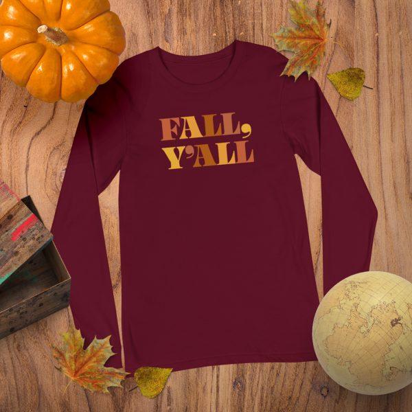 Fall Yall Long Sleeve Flat Lay Mockup Tshirt