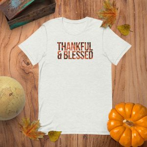 Thankful and Blessed Flat Lay Mockup Tshirt